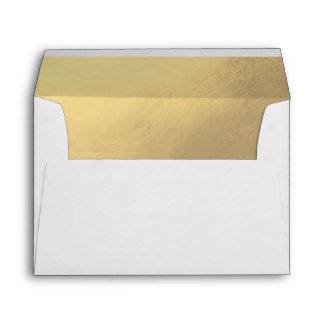 Custom Faux Gold Foil Insert White Wedding Envelope