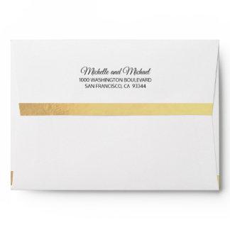 Custom Faux Gold Foil Insert White Wedding Envelope