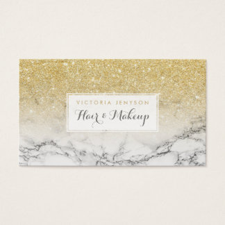Custom faux gold glitter ombre white marble makeup business card