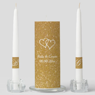 Custom faux gold glitter wedding unity candle set