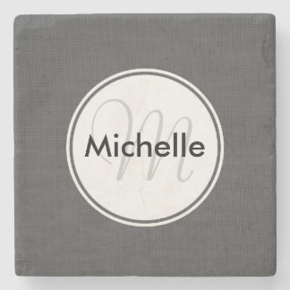 Custom Faux Grey Woven Cloth Stone Beverage Coaster