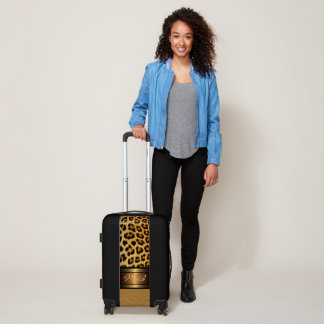 Custom Faux Leopard Skin Gold Leather Pattern Luggage