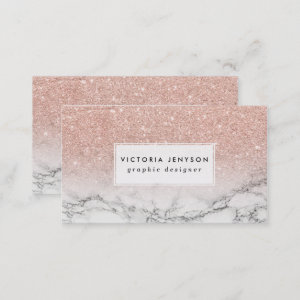 Custom faux rose pink glitter ombre white marble business card