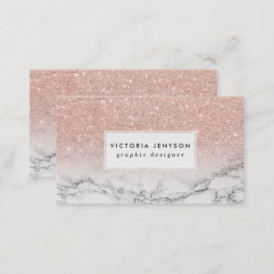 a5329efb6fa Custom faux rose pink glitter ombre white marble business card