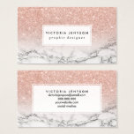 "Custom faux rose pink glitter ombre white marble business card<br><div class=""desc"">A cool,  trendy and stylish faux rose gold pink glitter ombre on modern white marble background. You can personalize it by adding your name or monogram</div>"