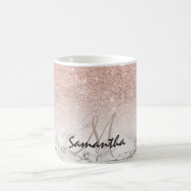 Custom faux rose pink glitter ombre white marble coffee mug