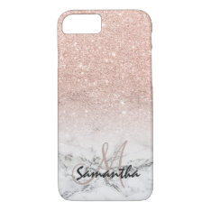 Custom Faux Rose Pink Glitter Ombre White Marble Iphone 7 Case at Zazzle
