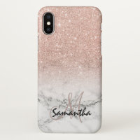 Custom faux rose pink glitter ombre white marble iPhone x case