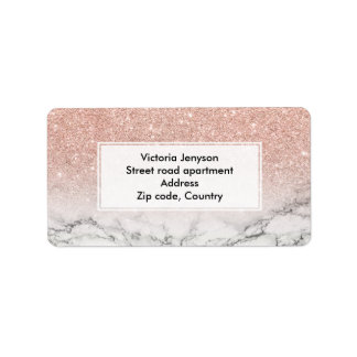 Custom faux rose pink glitter ombre white marble label