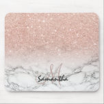 "Custom faux rose pink glitter ombre white marble mouse pad<br><div class=""desc"">A cool,  trendy and stylish faux rose gold pink glitter ombre on modern white marble background. You can personalize it by adding your name or monogram</div>"