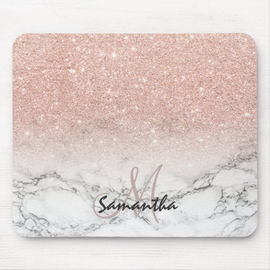 Custom Faux Rose Pink Glitter Ombre White Marble Mouse Pad
