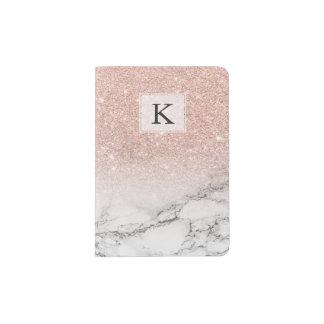 Custom faux rose pink glitter ombre white marble passport holder