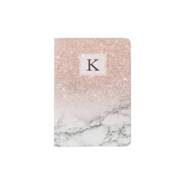 girly_trend Custom faux rose pink glitter ombre white marble passport holder