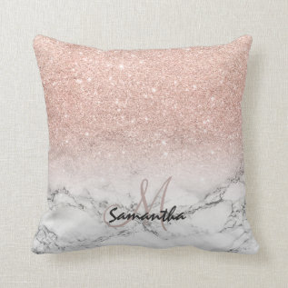 Custom Faux Rose Pink Glitter Ombre White Marble Throw Pillow at Zazzle
