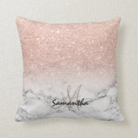 Custom faux rose pink glitter ombre white marble throw pillow