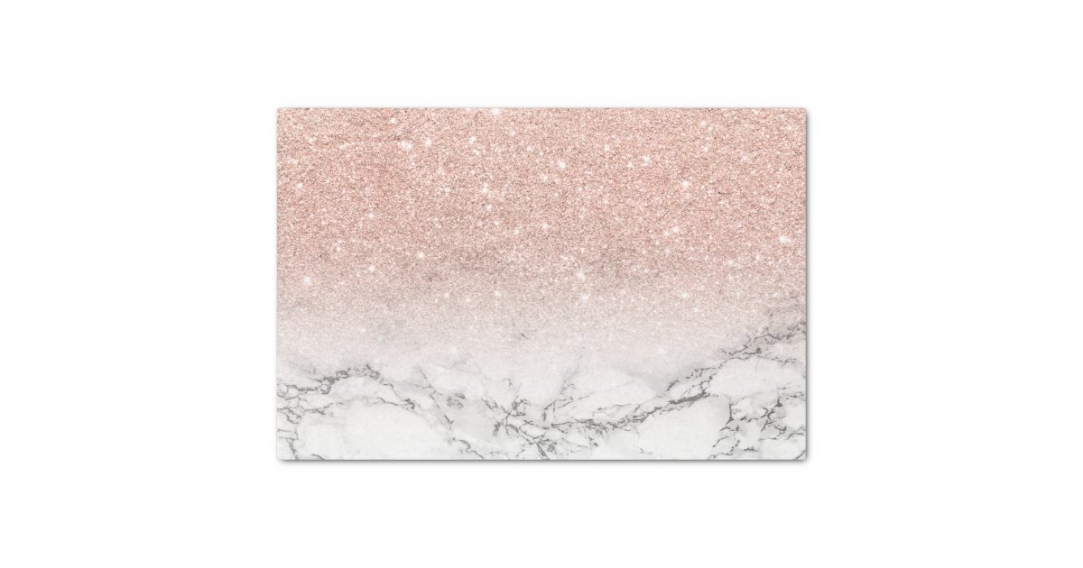 Custom Faux Rose Pink Glitter Ombre White Marble Tissue