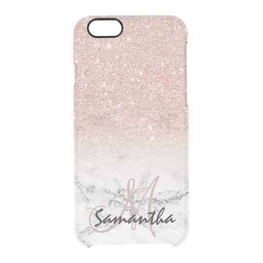 568ca50f7 Custom faux rose pink glitter ombre white marble uncommon iPhone case |  Zazzle.com