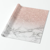Custom faux rose pink glitter ombre white marble wrapping paper