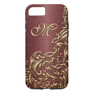 Custom Faux Shiny Gold Floral Swirl Pattern iPhone 8/7 Case