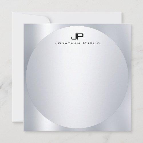 Custom Faux Silver Monogram Simple Elegant Trendy Note Card