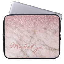 Custom Faux White Gray Marble Pink Glitter Pattern Computer Sleeve