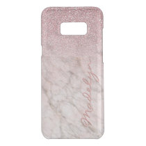 Custom Faux White Gray Marble Pink Glitter Pattern Uncommon Samsung Galaxy S8  Case