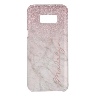 Custom Faux White Gray Marble Pink Glitter Pattern Uncommon Samsung Galaxy S8+ Case