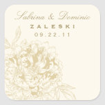 Custom Favor Sticker | Floral Peony Design
