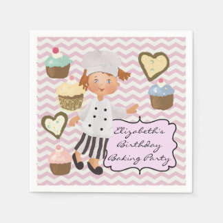 Custom Female Chef Baking Party Paper Napkins Standard Cocktail Napkin