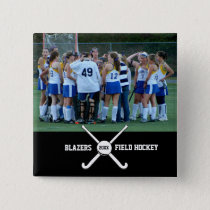 Custom Field Hockey Photo Collage Name Team Number Button