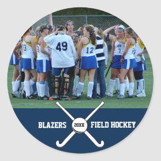 Custom Field Hockey Photo Collage Name Team Number Classic Round Sticker