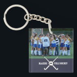 """Custom Field Hockey Photo Collage Name Team Number Keychain<br><div class=""""desc"""">This personalized field hockey photo collage features your uploaded photos, criss-crossed field hockey sticks, a ball, your player&#39;s number and your choice of text - team name, coach&#39;s name, player&#39;s name, number, etc. Easily change the background color to match your team colors - just click on &quot;customize&quot; and then the...</div>"""