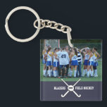 "Custom Field Hockey Photo Collage Name Team Number Keychain<br><div class=""desc"">This personalized field hockey photo collage features your uploaded photos, criss-crossed field hockey sticks, a ball, your player&#39;s number and your choice of text - team name, coach&#39;s name, player&#39;s name, number, etc. Easily change the background color to match your team colors - just click on &quot;customize&quot; and then the...</div>"