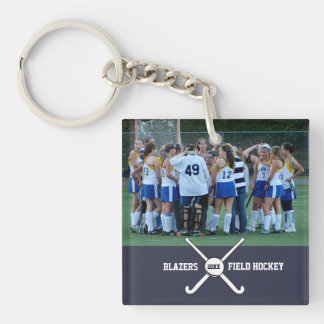 Custom Field Hockey Photo Collage Name Team Number Keychain