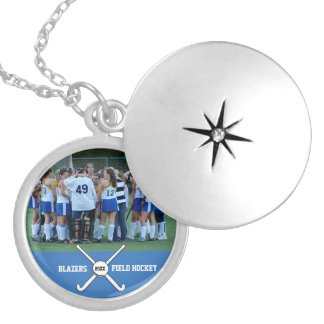 Custom Field Hockey Photo Collage Name Team Number Locket Necklace