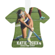 Custom Field Hockey Photo Collage Name Team Number Ornament