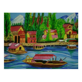 Custom Fine Art Hand Drawn Mountain Lake Postcard