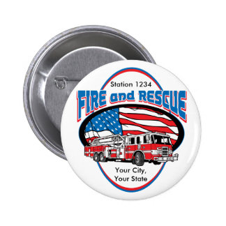 Custom Fire and Rescue Pinback Button