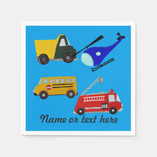 Custom fire, sand truck, school bus and helicopter paper napkin