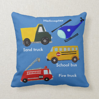 Custom fire, sand truck, school bus and helicopter throw pillow
