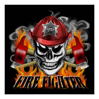 Custom Firefighter Skull with Flaming Crossed Axes Posters