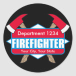 Custom Firefighter with Axes Classic Round Sticker