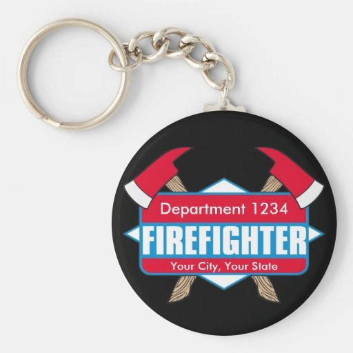 Custom Firefighter with Axes Basic Round Button Keychain