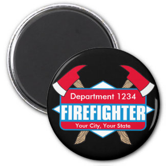 Custom Firefighter with Axes 2 Inch Round Magnet