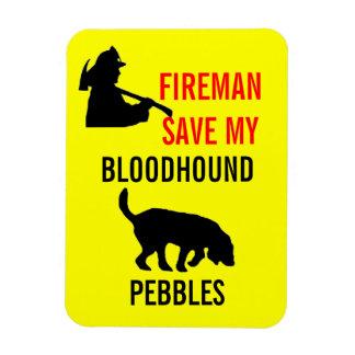 Custom Fireman Save My Bloodhound Fire Safety Rectangular Photo Magnet