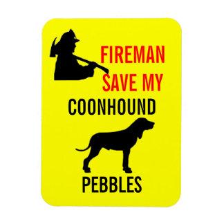 Custom Fireman Save My Coonhound Safety Rectangular Photo Magnet