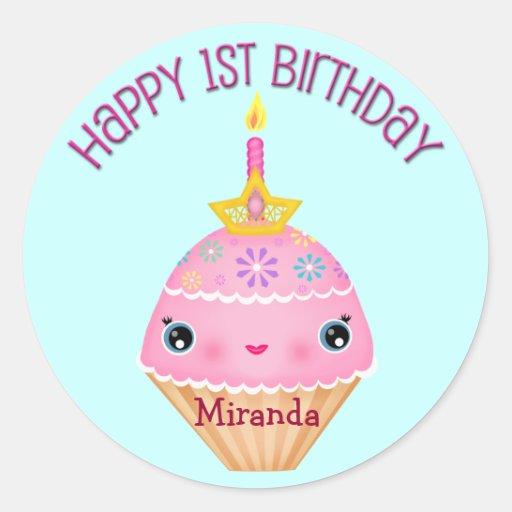 Custom First Birthday Girl Kawaii  Cupcake Sticker