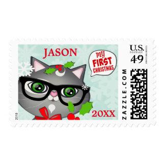 Custom First Christmas Snow Couple Postage Stamp