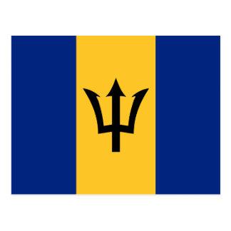 Custom Flag of Barbados Trident of Neptune Postcard