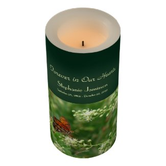 Custom Flameless Memorial Candle Orange Butterfly